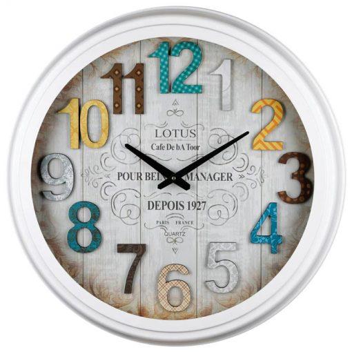 ساعت دیواری فلزی با صفحه برجسته چوبی مدل Portland کد 16012