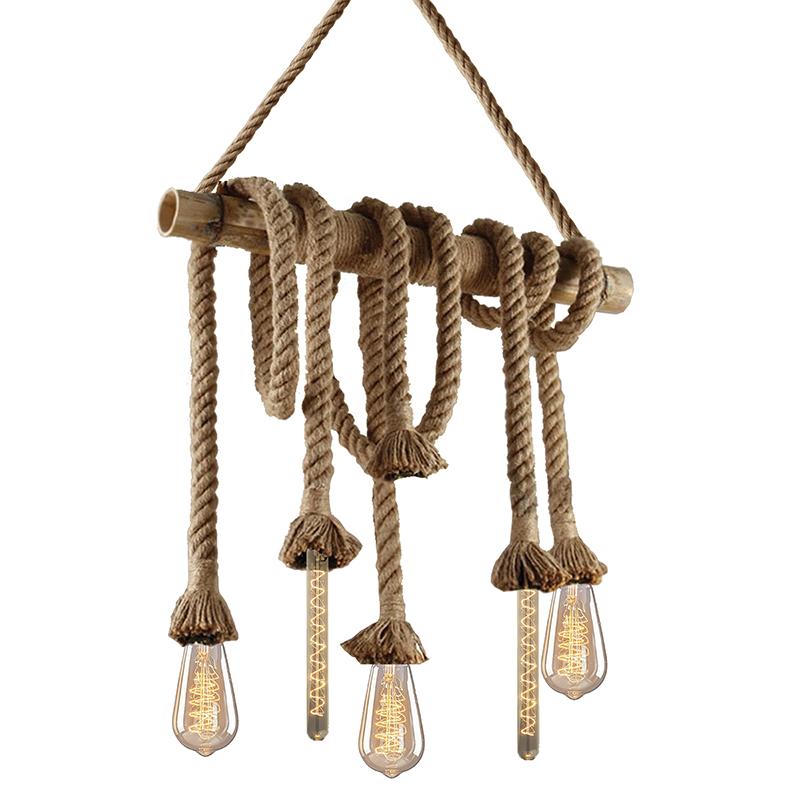 چراغ آویز بامبو کنفی 6 شاخه