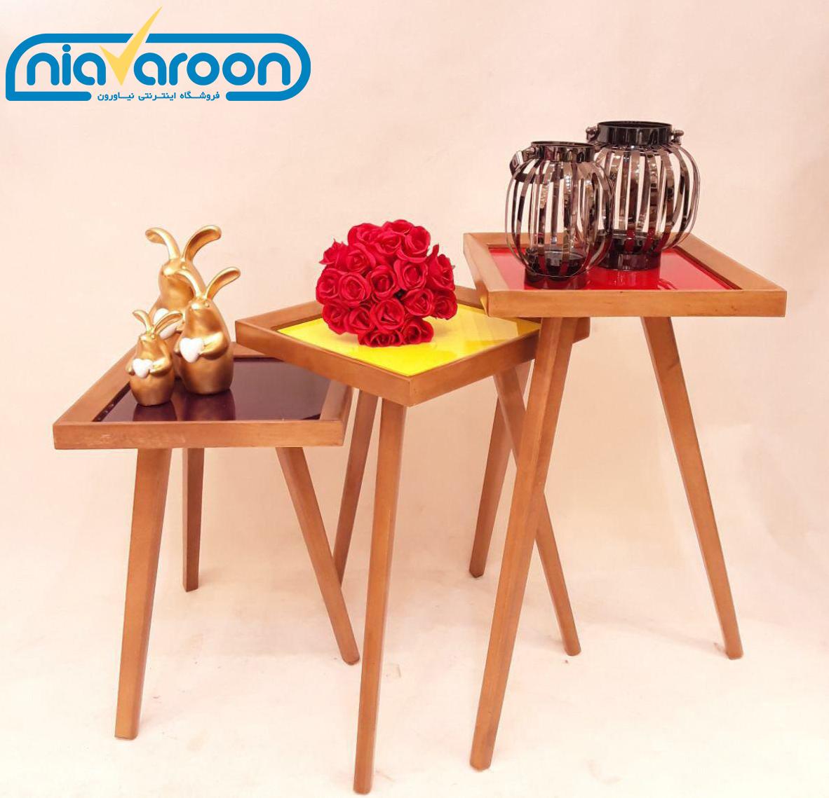 میز عسلی سه تیکه مدرن رنگی مدل آلفا