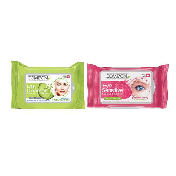 پک دستمال مرطوب کامان مدل milk cleanser به همراه دستمال پاک کننده آرایش چشم