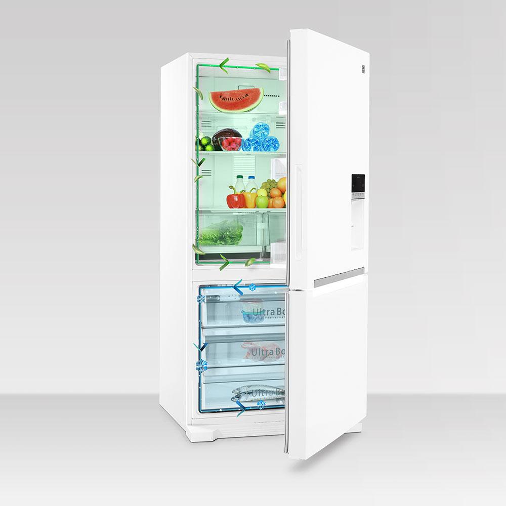 یخچال و فریزر پایین اولتیمو دوو مدل D4BF-0028LW رنگ سفید چرم