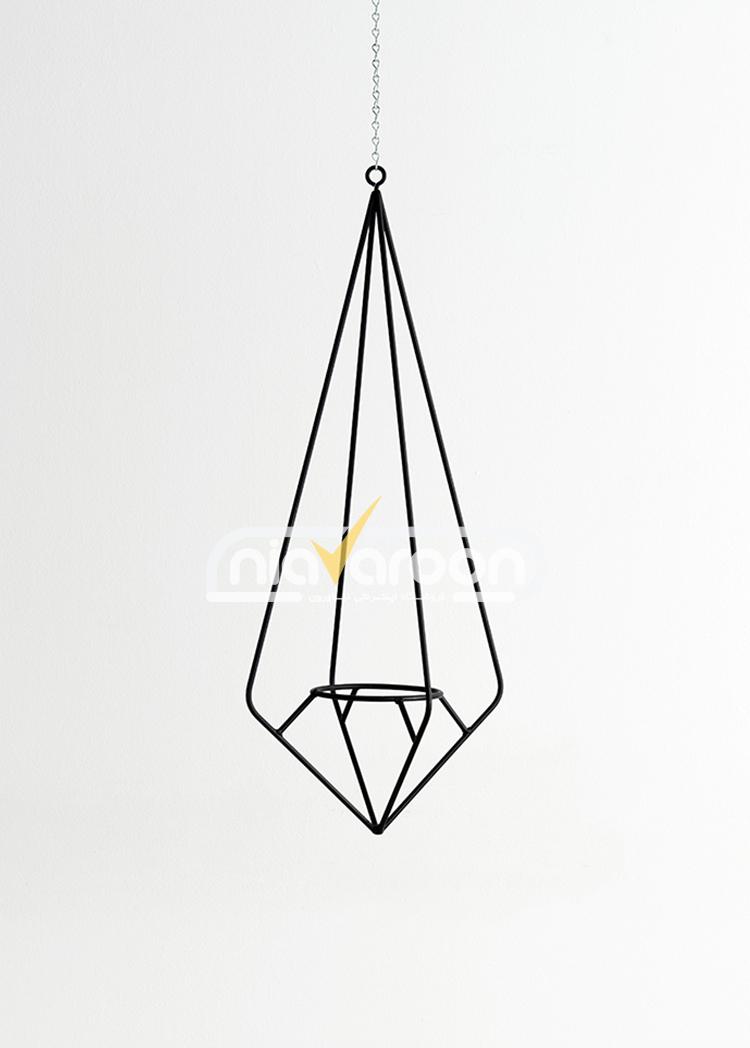 آویز گلدان فلزی مدل الماس